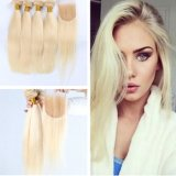 Huihao Straight Virgin Hair 613 Lace Closure with Bundles Blonde
