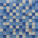 Good Price 30X30 China Foshan Factory Manufacture Swimming Pool Mosaic Balcksplash Ocean Blue Glass Seashell Mosaic Wall Tiles