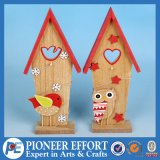 Wooden Small House Design with Bird and Owl for Home Ornament