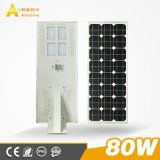Government Projects 80W All in One Integrated LED Solar Street Light for Outdoor Garden Road Lighting with 36V 110W Solar Panel