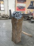 Rose Carving Black Basalt Statue, Garden Decoration