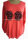 Women Fashion Knitted Round Neck Long Sleeve Sweater Clothes (16-054)