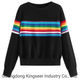 Wholesale Women Cheap Cotton Plyester Advertising Promotional Color Striped Printing Long Sleeve T Shirt