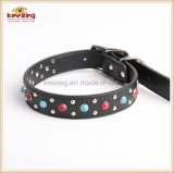 Double Layer Real Leather Gemstone Pet Collars /Dog Cat Collar Kc0157