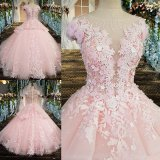 Cheap Luxury Pink Evening Party Dress Bridal Dress Wedding Gown