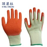 Good Quality 21g Cotton Safety Glove with Crinkle Latex Coated
