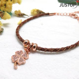 Animal Leather Cord Hand-Woven Natural Zircon Stone Clover Bracelet