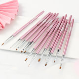 High Quality Metal 3D Nail Art Drawing Pen Drawing Flower Carving Flat Head Light Therapy Point Drilling Pen Pink Nail Art Brush