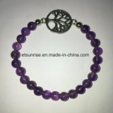 Semi Precious Stone Fashiong Natural Crystal Amethyst Beaded Charming Bracelet Jewellery