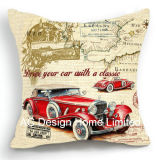 Vintage Square Old Car Design Decor Fabric Cushion W/Filling