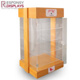 Four Sides Clear Acrylic and Wooden Sunglasses Display Cabinet with Light and Lock