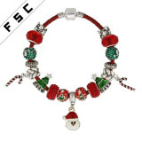 Christmas Santa Claus Candy Cane Jingle Bell Charm Leather Bracelet