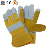 Double Palm Cow Split Leather Work Gloves Ce Approved