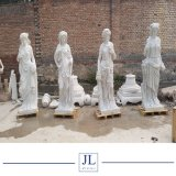 White Marble Stone Sculpture Carving Lady Figure for Garden and Decoration