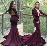 Black Lace Party Formal Gowns Black Girls V-Neckline Evening Dresses Z4004
