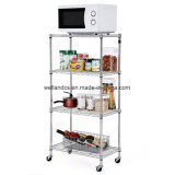Environment and Healthful Friendly Househod Chrome Steel Kitchen Storage Rack Trolley