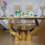 Hotel Banquet Furniture Gold Retangle Metal Stainless Steel Dining Table