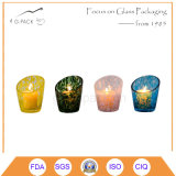 Set of 4 Colorized Glass Candle Holder, Candle Lamp