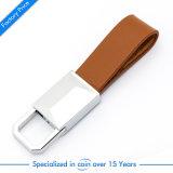 Wholesale Customized Brown Genuine Leather Key Tag Band Plastic Epoxy