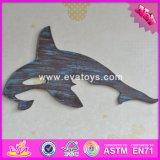 2017 Wholesale Best Home Decorations Wooden Wall Hanging, New Design Fish Shape Wooden Wall Hanging W09d016
