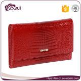 New Design Crocodile Grain Cow Leather Woman Wallet, Ladies Leather Wallet Short Design Folding Wallet