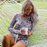 New Ladies Casual Ladies Long Sleeve Printed Pajamas Home Clothing
