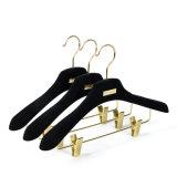 Customized Luxury Black Velvet Clothes Hangers Plastic Coat Suit with Gold Clips