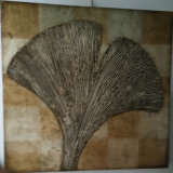 Low Price Hand Painting Silver Ginkgo Leaf Decorative Painting (LH-233000)