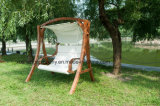 High Quality Outdoor Furniture Garden Wood Fabric Rocking Swing Chair