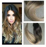 Ombre Balayage Extensions Clip in Human Hair Color #2 Fading to Color #6#18 Ash Blonde