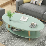 Cheap Mini Oval Simple Living Room/Balcony Furniture Solid Wood Legs Modern Appearance Casual Coffee Table Side Table