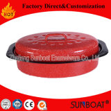 Sunboat Enamel Oval Roaster Small Size Red Color Kitchenware