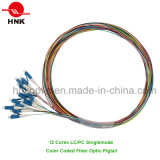 12 Cores LC PC Singlemode Color Coded Fiber Optic Pigtail