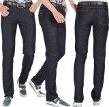 Men's 2015 Summer Genuine Black Middle Waist Slim Straight Casual Jeans