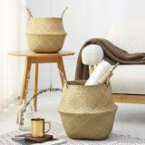 Hand Woven Seagrass Belly Storage Basket, Flowerpot Decorative Baskets Home Kitchen Organizer