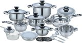Kitchen Appliance 21PCS Stainless Steel Cookware with Glass Lid