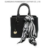 Latest Design 100% PU Leather Handbag Hot Selling with Silk Scarves for Lady Handbag