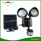 22 LED Solar Light PIR Motion Sensor Rotatable Two Heads Waterproof Outdoor Garden Wall Spotlight