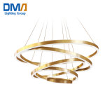 Best Selling Customize High Ceiling Golden LED Pendant Lamp Chandelier Luxury Lampara Circles Project Lights