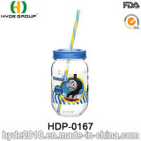 2017 Promotional BPA Free Single Wall Plastic Cup, Cheapest Plastic Mason Jar with Straw (HDP-0167)
