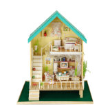 2 Floor Mini Wooden Doll House Toy