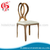 Luxury High Quality Stainless Steel Stackable Gold Banquet Chairs with White Cushion