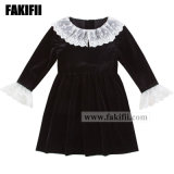 New Design Winter/Autumn Customised Baby Christmas Clothes Children Garment Girl Lace Black Velvet Dress