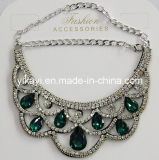 Lady Fashion Jewelry Green Waterdrop Glass Crystal Collar Necklace (JE0196-green)
