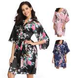 Wholesale Flower and Bird Short Kimono Black Satin Wrap Pajamas Lingerie