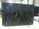 China Cheap Home Decoration Portoro Black and Golden Marble