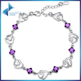 China Factory Fashion Jewelry Colored Teen Girl 925 Sterling Silver Bracelet