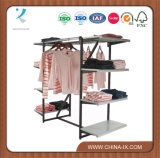 Customized Clothing Display Rack with 8 Shelves & 2 Hangrails