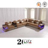 Wholesale Modern Luxury Modern Leisure Home Living Room Genuine Leather Wood Frame Corner Sofa Chair Furniture Set with TV Cabinet & Coffeetable & Sensory LED