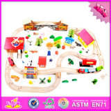 2016 Wholesale Baby Wooden Train Tracks Toy, Funny Kids Wooden Train Tracks Toy, 89 Pieces Wooden Train Tracks Toy W04c060